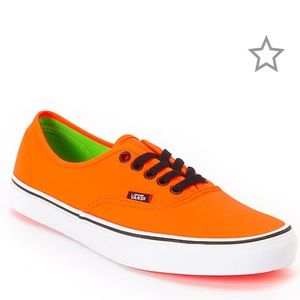 Vans Authentic Neon Orange and Green Skate Shoes